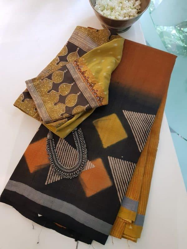 Mustard ombre block print tussar saree 1