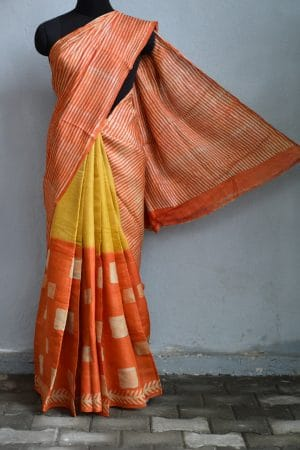 Orange yellow batik tussar saree