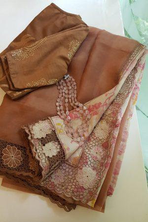 Pale Brown organza cutwork saree with printed pallu