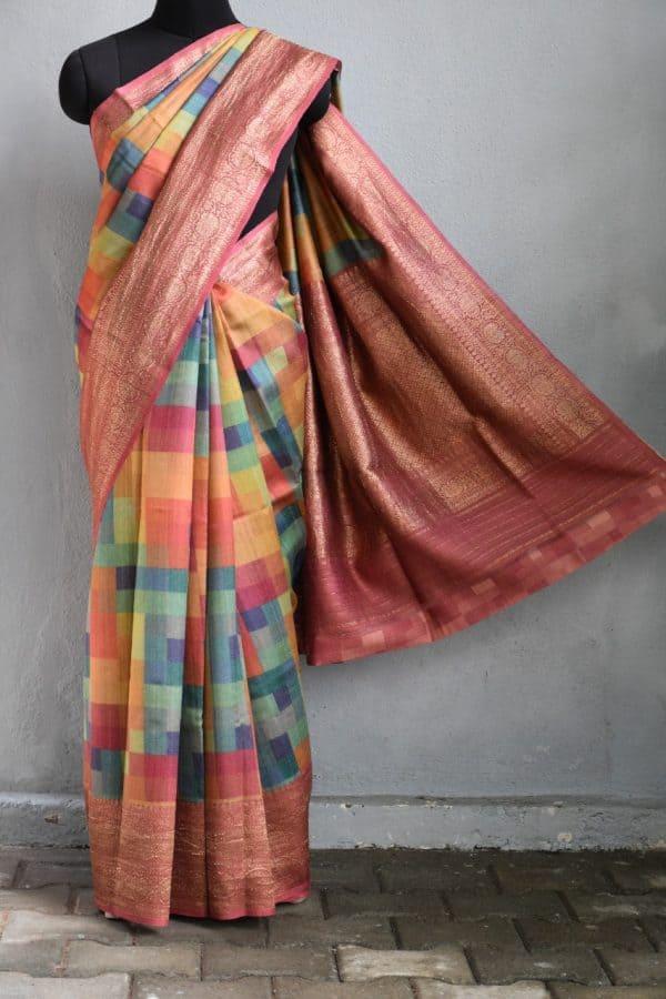 Pink multicoloured geometric print benarasi tussar saree