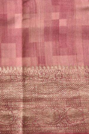Pink multicoloured geometric print benarasi tussar saree blouse