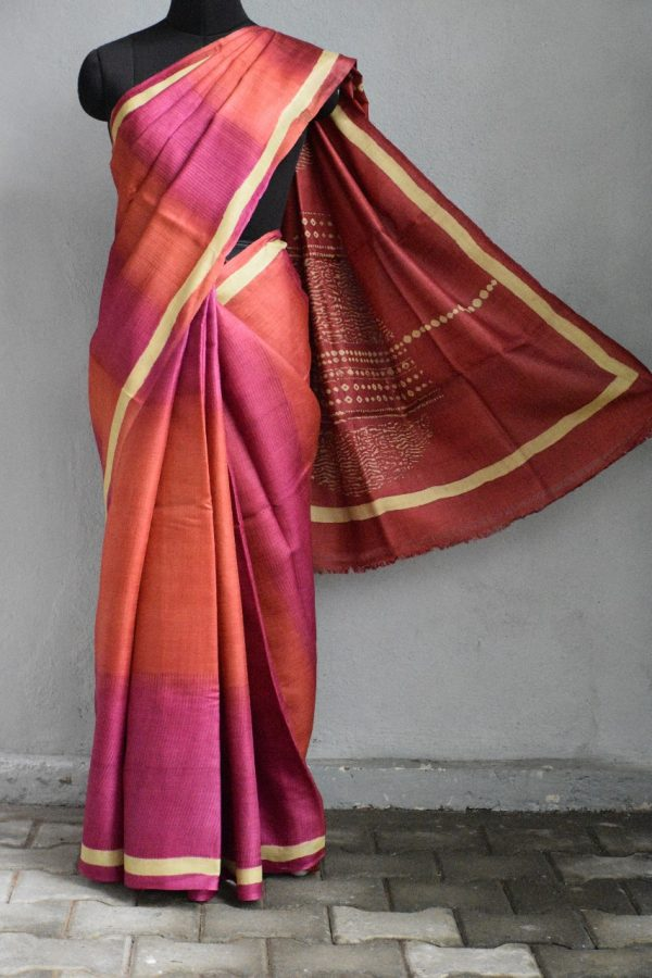 Pink ombre shibori tussar saree 1