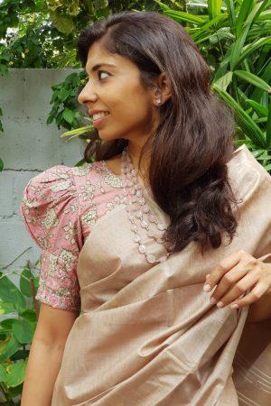 Pink tussar kantha blouse front