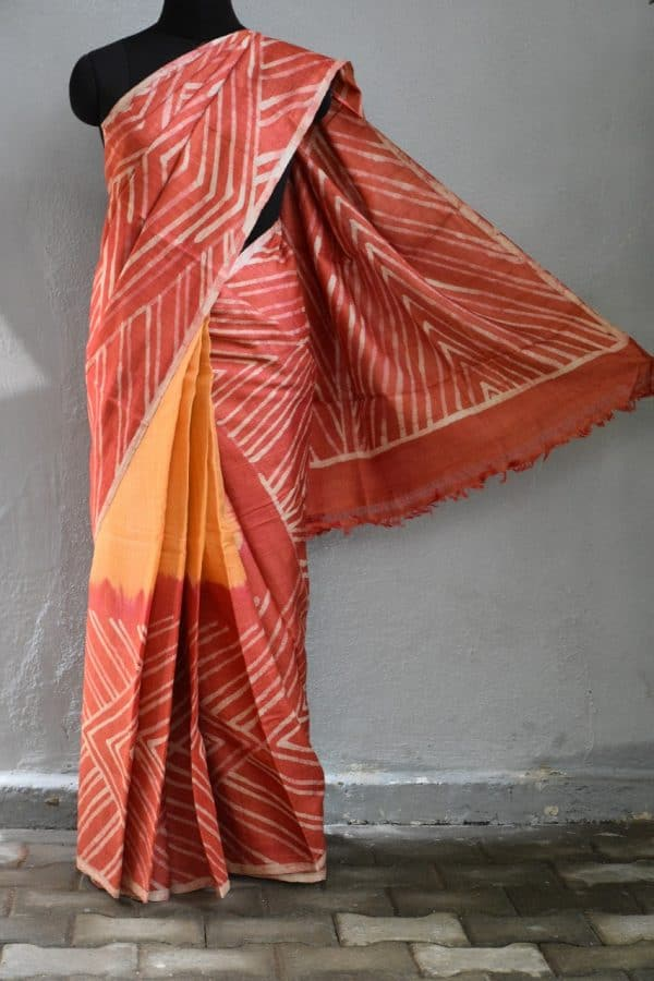 Red mustard batik tussar saree 1