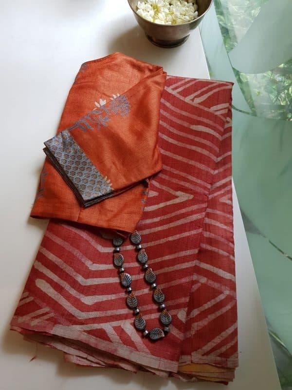 Red mustard batik tussar saree