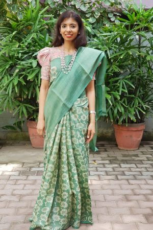 Russian green batik tussar saree 1