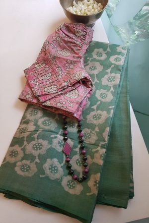 Russian green batik tussar saree