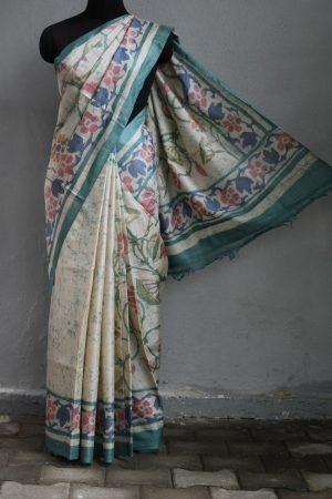 Russian green floral batik tussar saree 1