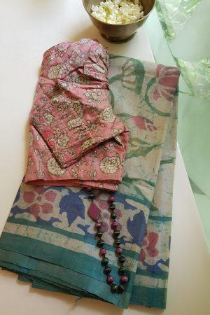 Russian green floral batik tussar saree