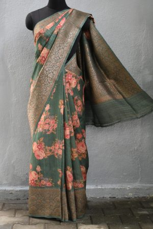 Russian green printed benarasi tussar saree