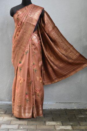 Rust printed benarasi tussar saree