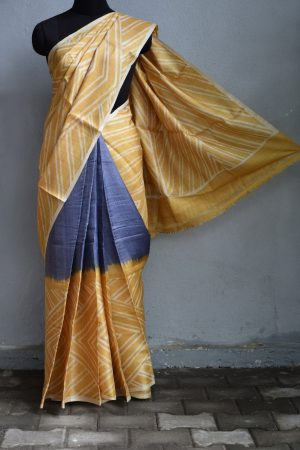 Yellow grey batik tussar saree 1