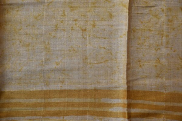 Yellow grey batik tussar saree 2