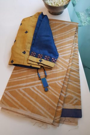 Yellow grey batik tussar saree