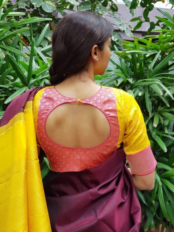 Yellow pink silk brocade blouse back