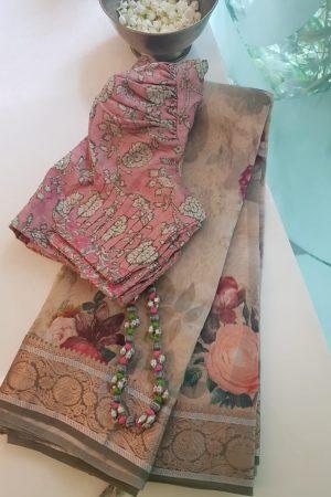 beige rose print zari border organza saree