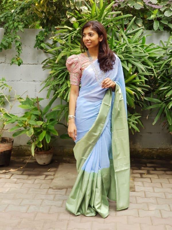 blue green chiffon kanchi silk saree