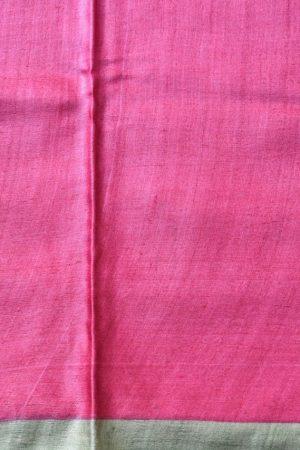 grey pink orange floral tussar saree 2