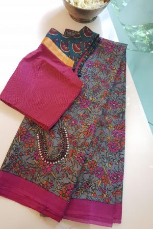 grey pink orange floral tussar saree