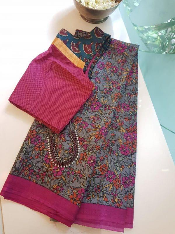 grey pink orange floral tussar saree