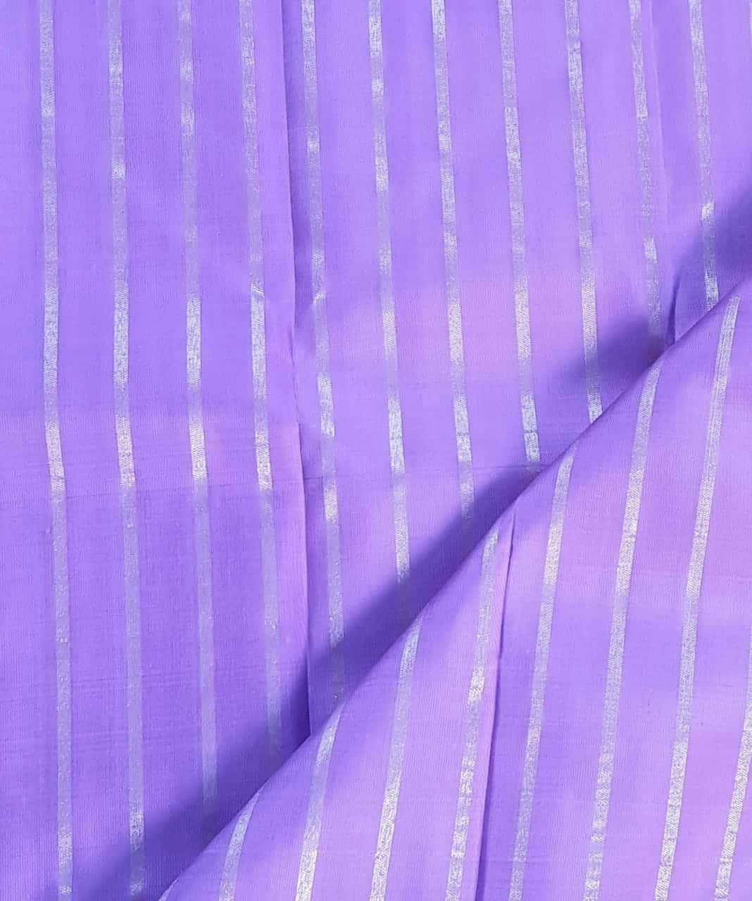 lilac silver zari stripes kanchi silk fabric