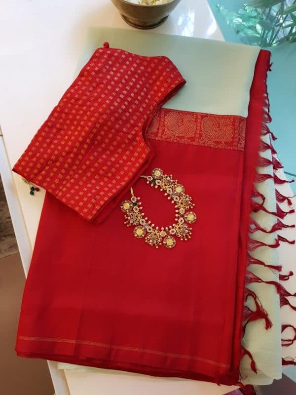 pale green chiffon red kanchi silk fusion saree