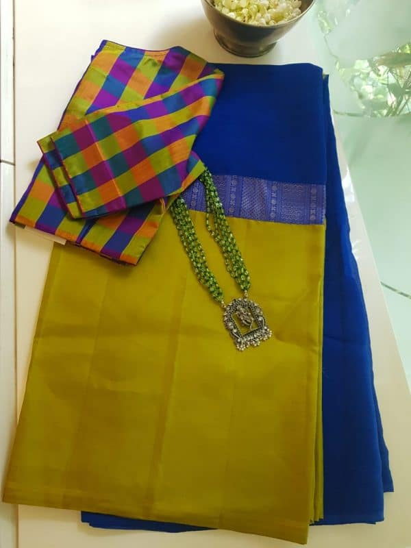 royal blue green chiffon kanchi silk saree