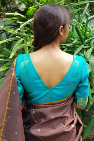 teal pure zari kanchi silk blouse back