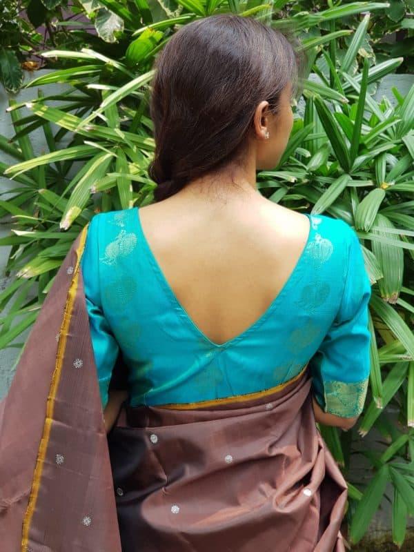 teal pure zari kanchi silk blouse back