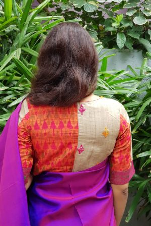 tussar ikat embroidered blouse