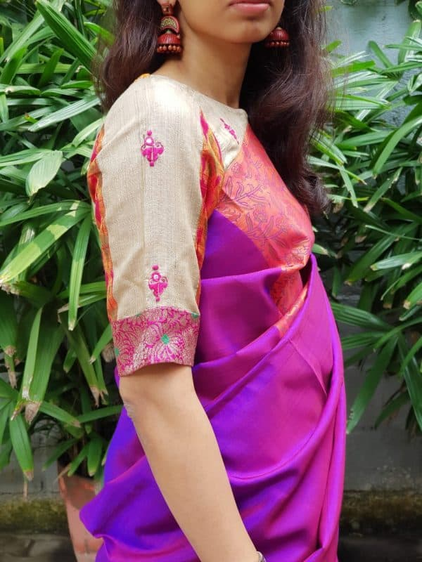 tussar ikat embroidered blouse sleeve