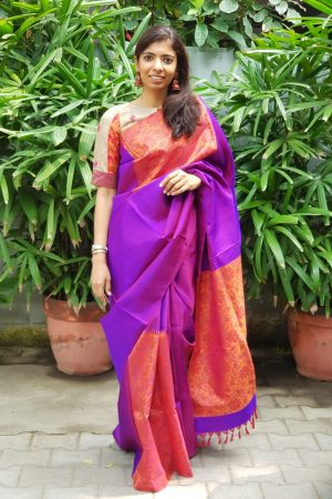 violet orange box type kanchi silk printed saree 2