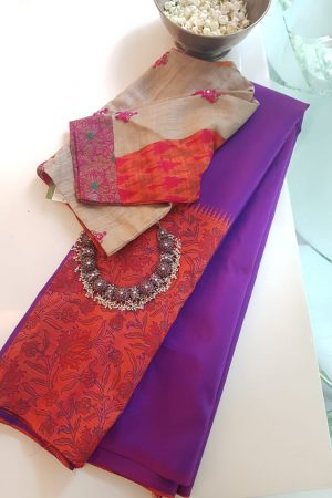 violet orange box type kanchi silk printed saree