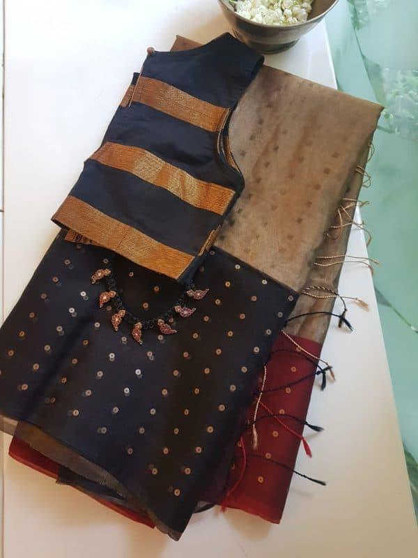 Black gold organza tissue sequins saree