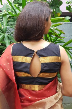 Black mangalagiri zari striped blouse