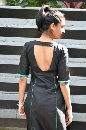 Black silk kurta with uppada dupatta 2