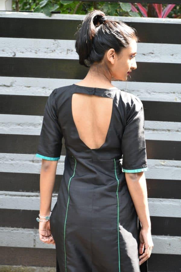 Black silk kurta with uppada dupatta 2