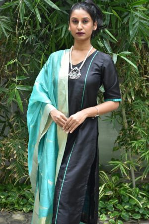 Black silk kurta with uppada dupatta