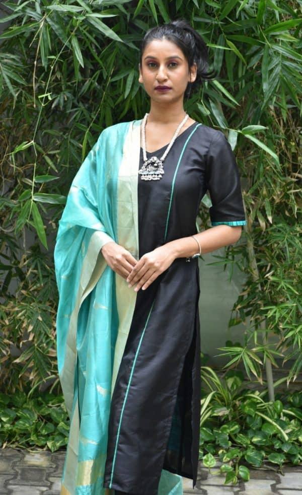Black silk kurta with uppada dupatta