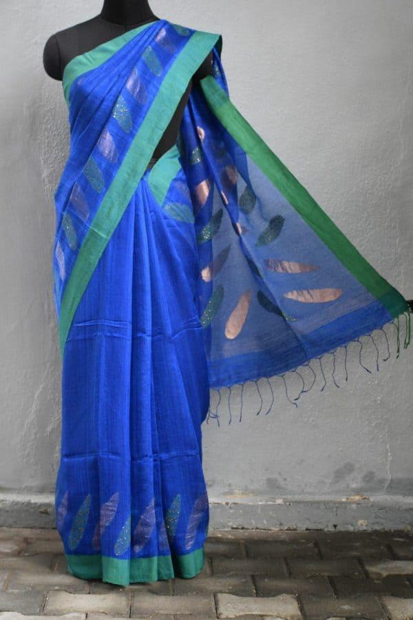Blue green matka silk sequinned saree 1
