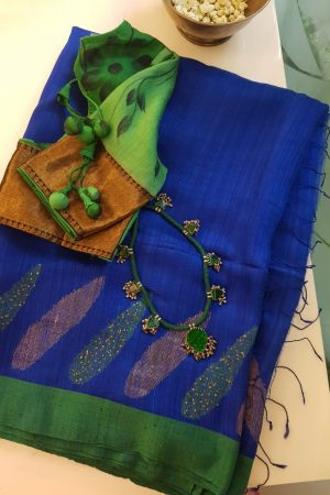Blue green matka silk sequinned saree