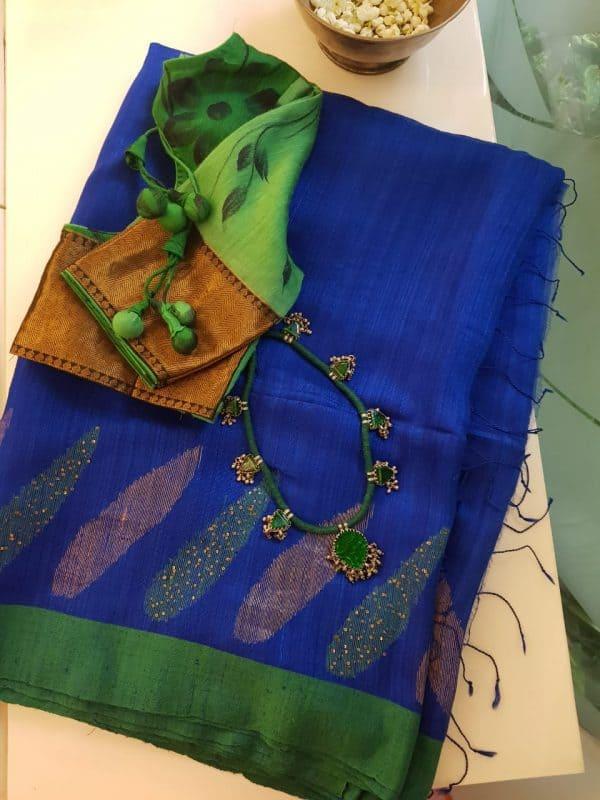 Blue green matka silk sequinned saree