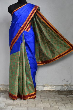 Blue green organza concept saree