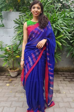 Blue red matka silk sequinned saree 1