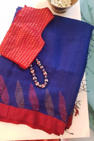 Blue red matka silk sequinned saree