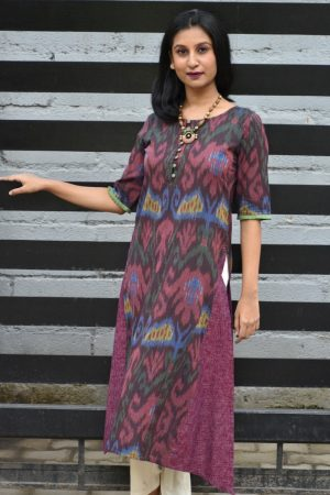 Brown central asian ikat kurta dupatta 2
