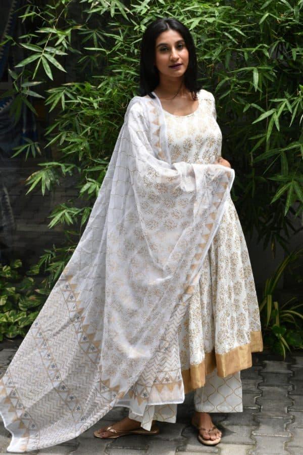 Cream and gold cotton kalidar kurta
