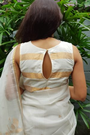 Cream and gold zari striped mangalagiri blouse