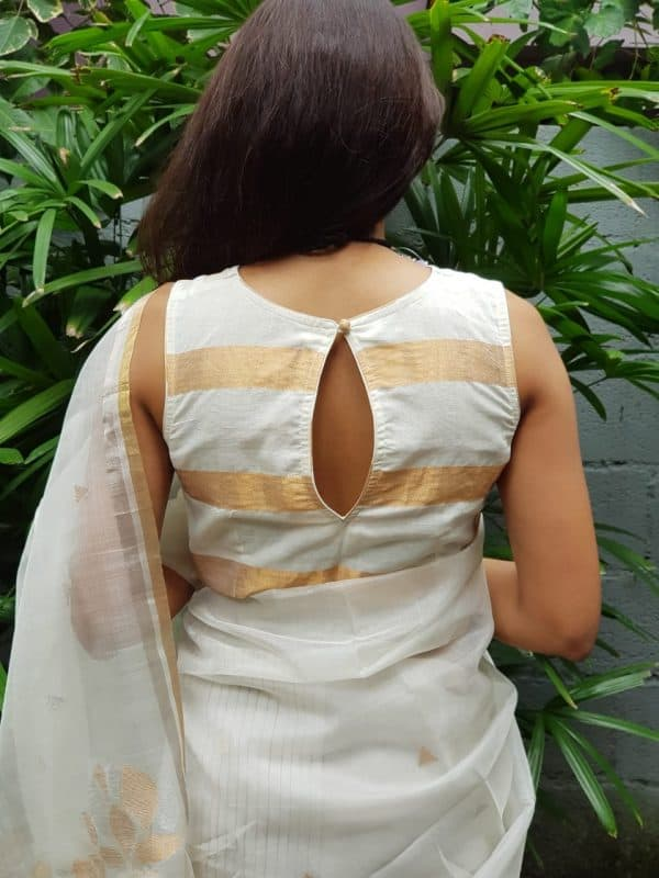 Cream and gold zari striped mangalagiri blouse