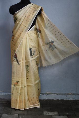 Cream bird print organza tissue saree 1